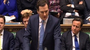 Chancellor George Osborne delivering his budget to the House of Commons