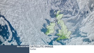 The satellite picture over the UK earlier today