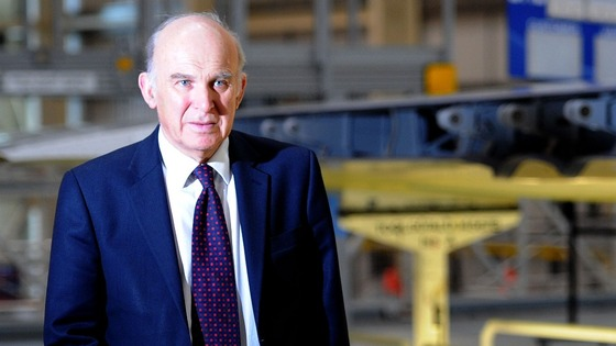 Vince Cable on a visit to an assembly plant in Broughton yesterday