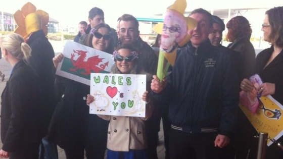 Fans gathering outside the Wales Millenium Centre