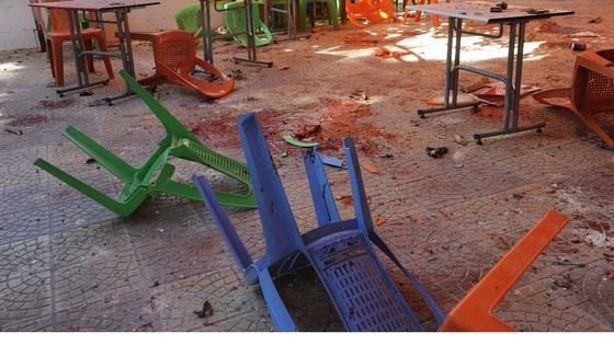 Debris at a canteen in Damascus University