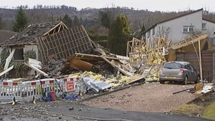 The wreckage of the elderly couple's house in Callander, Scotland