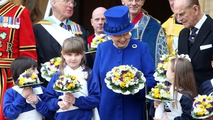 The Queen and Duke of Edinburgh outside Christ Church Cathedral after the service.