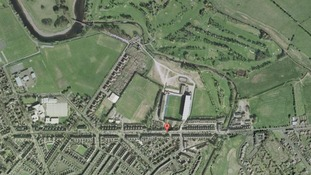 Aerial view of Warwick Road in Carlisle, Cumbria