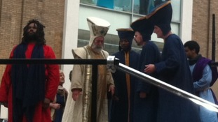 Priests decide the fate of Jesus in the 'Christ in The Centre' Passion play in Leicester