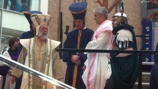 Pontius Pilate addresses Jesus
