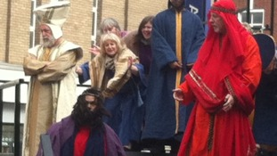 King Herod and crowd mock Jesus