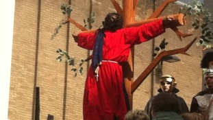 Jesus is crucified on the cross in Leicester