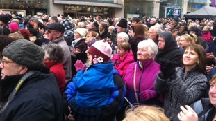 Crowds applaud the cast of the 'Christ in The Centre' play in Leicester