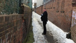 Jordan Blakeway gritting the path