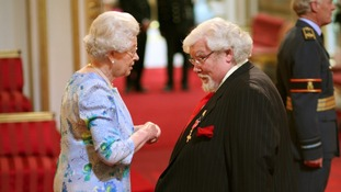 Richard Griffiths is made an OBE by The Queen at Buckingham Palace in 2008