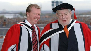 England football manager Steve McClaren (L) and Richard Griffiths receive honorary degrees at the University of Teeside