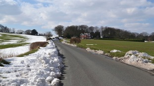 Partial snowmelt by roadside in Stonnall, Staffordshire.