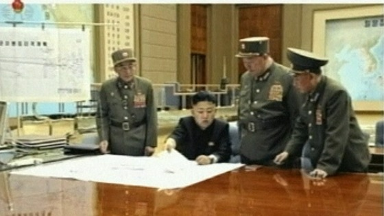 Kim Jong-un with military leaders