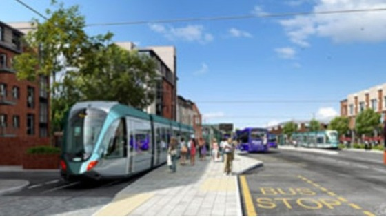 A computer generated image of the tram stop in Beeston town centre