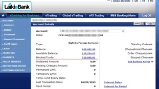 A picture posted online claims to show over €700,000 'blocked' in a Cyprus bank account