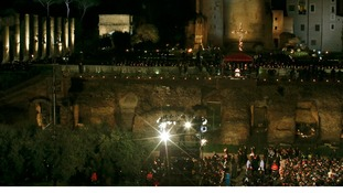 Pope Francis leads the Via Crucis (Way of the Cross) in front of huge crowds at the Colosseum in Rome