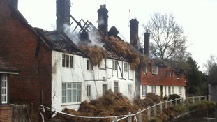 Aftermath of thatched cottage fire East Meon