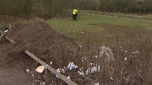 Council litter pickers are clearing up after the travellers left the Gresham Sports ground off Wilford L