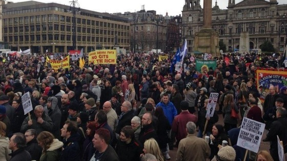 Protesters outside George Square in Glasgow.