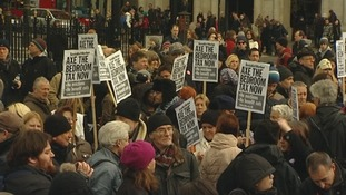 Hundreds of people took part in the protest.
