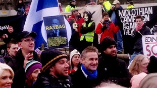 Large protests against the bedroom tax took place yesterday in Edinburgh, as well as many other cities across the UK.