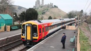 The first modern train on the line from Bournemouth to Corfe Castle and Swanage since 1972