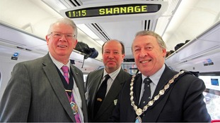 Dorset County Council chairman Cllr John Wilson, Swanage Railway Company chairman Peter Sills and Swanage Mayor Cllr Bill Trite