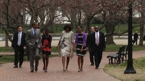 The Obama family walk to the Easter service at St John's Church