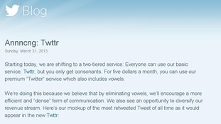Twitter's announcement that it is to start charging for vowels