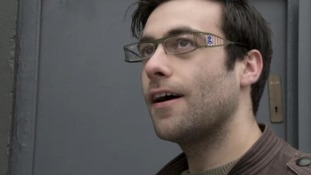 A man appears wearing the Guardian goggles in the spoof advertisement