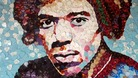 Mosaic of guitar legend Jimi Hendrix made out of thousands of Fender plectrums.