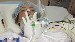Natalie Creane in a hospital bed after the accident.