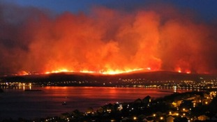 Wildfires spread across Banavie, near Fort William in the Scottish Highlands.