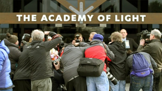 A media scrum outside Sunderland's Academy of Light training facility