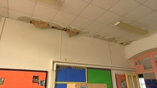 School building with water damage
