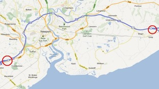 Map showing the section of the M4 between junctions 23 and 39 near Newport in South Wales