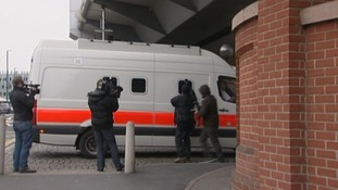 A police van arriving at Nottingham Crown court early on in the trial