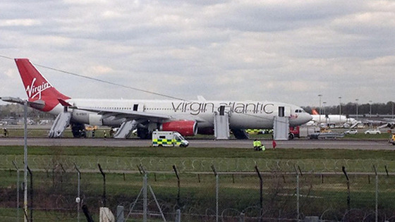 Virgin Atlantic Airbus A330 bound for Orlando on the runway at Gatwick Airport after it made an emergency landing