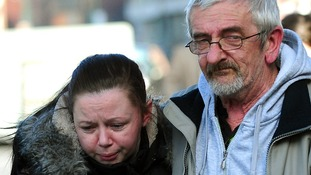 Jimmy Duffy, the father of Mairead Philpott, hugs daughter Bernadette, outside Nottingham Crown Court.
