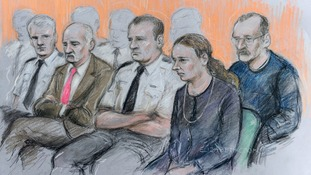 A court sketch depicts Mick Philpott (second left) and wife Mairead (second right) with Paul Mosley (right).