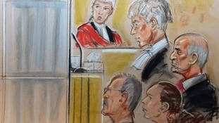 Artist sketch of Lisa Willis giving evidence from behind a screen