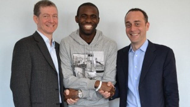 Muamba up and about