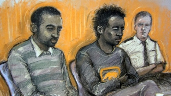 Court drawing of Kevin Liverpool (left) and Junior Bradshaw in court
