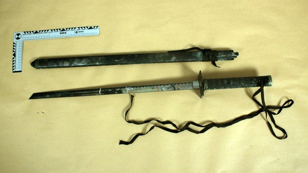 Samurai sword found in the boot of the car