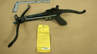 Crossbow found at the home of Kevin Liverpool and Junior Bradshaw in Manchester