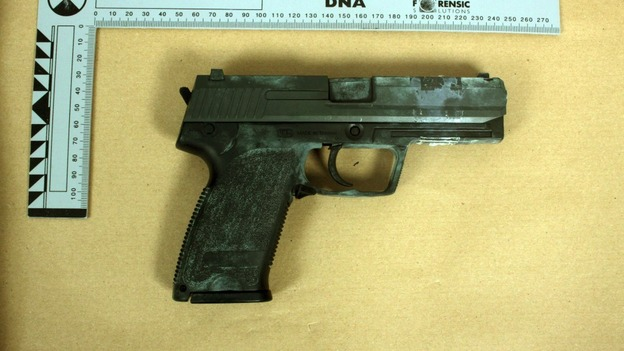 BB gun found at the home of Kevin Liverpool and Junior Bradshaw in Manchester