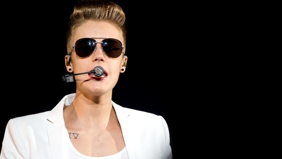 Justin Bieber performs at O2 World in Hamburg, Germany yesterday