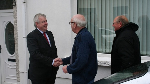 Carwyn Jones meeting voters during the local election campaign