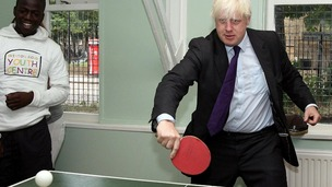 London Mayor Boris Johnson showcases his table tennis skills